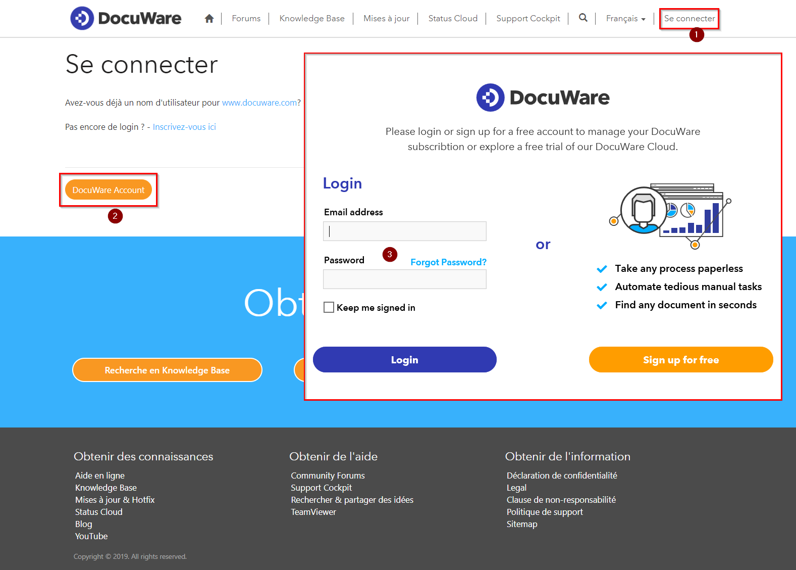 Login at support.docuware.com