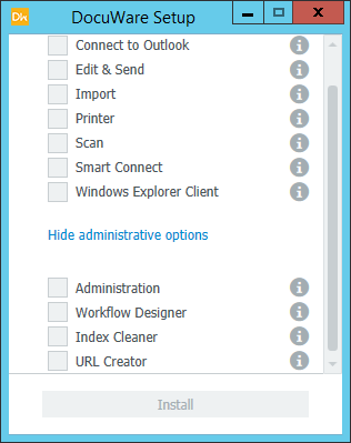 Screenshot of the Client Setup window