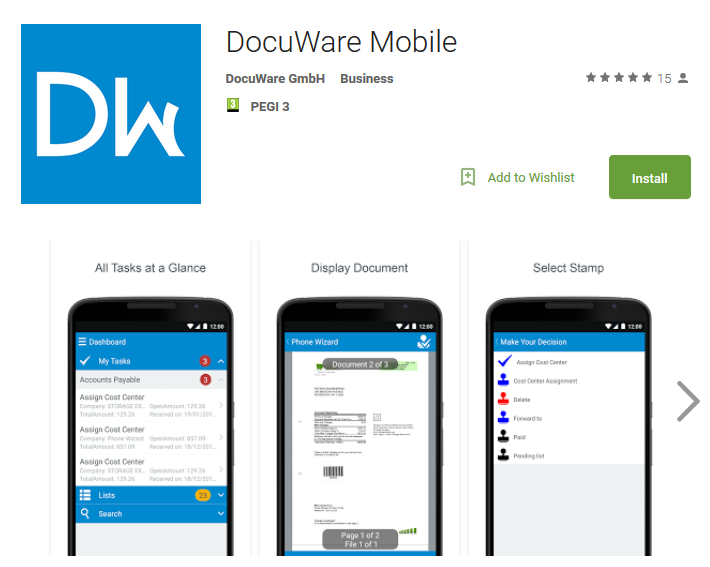 Google Play Store DocuWare APP